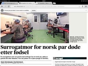 Skjermdump av Aftenpostens nyhetssak om det tragiske dødsfallet.